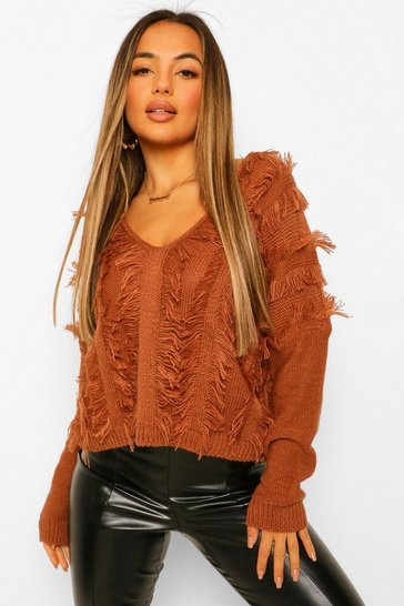 Chocolate brown Petite Fringe Detail V-Neck Jumper