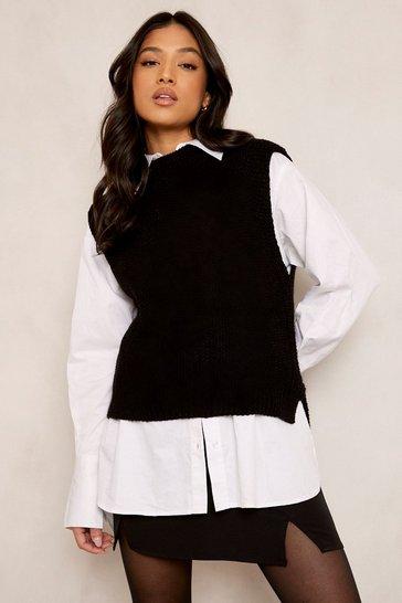 Black Petite Oversized Knitted Vest Jumper