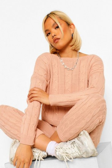 Blush pink Petite Cable Knit Cropped Jumper