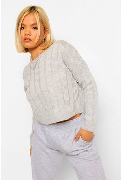 Grey Petite Cable Knit Cropped Jumper