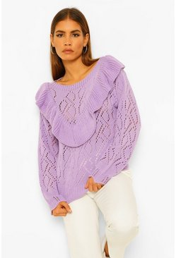 Lilac purple Petite Pointelle Ruffle Front Jumper