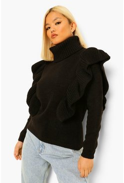 Black Petite Roll Neck Ruffle Neck Jumper