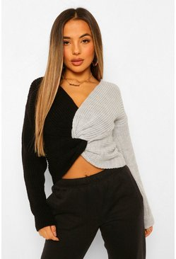 Black Petite Colour Block Twist Back Jumper