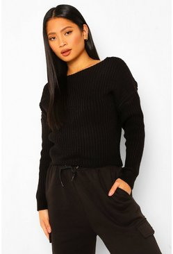 Black Petite Lace Trim Chunky Knit V-Neck Jumper