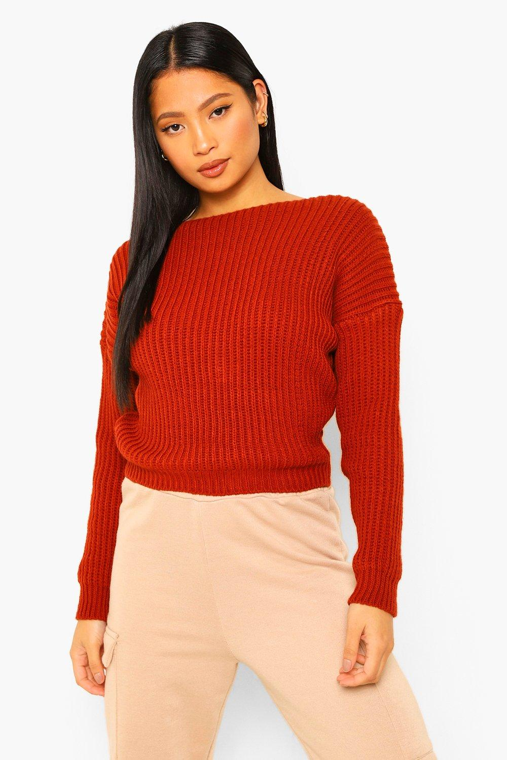 Jumpers Petite Lace Trim Chunky Knit V-Neck Jumper