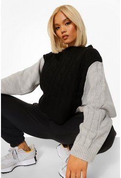 Black Petite Colour Block Cable Knit Jumper