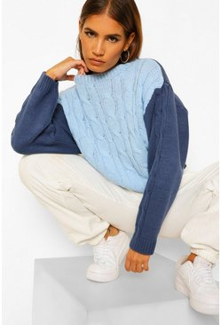 Navy Petite Colour Block Cable Knit Jumper