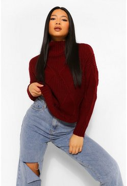 Berry Petite Diamond Knit Roll Neck Jumper