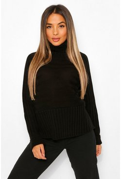 Black Petite Roll Neck Chunky Stripe Knit Jumper