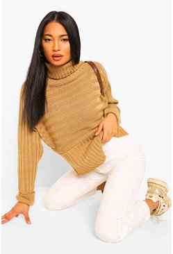 Camel beige Petite Roll Neck Chunky Stripe Knit Jumper
