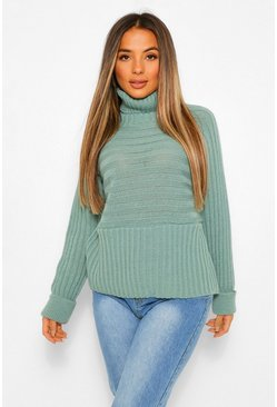 Sage green Petite Roll Neck Chunky Stripe Knit Jumper