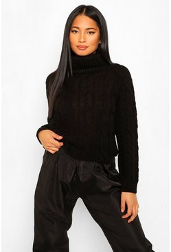 Black Petite Cable Knit Roll Neck Cropped Jumper