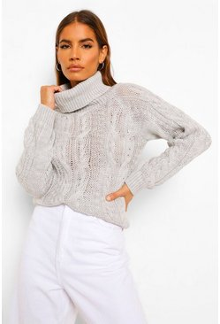 Petite Cable Knit Roll Neck Cropped Jumper, Grey gris