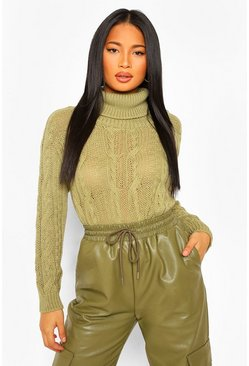 Olive green Petite Cable Knit Turtleneck Cropped Sweater