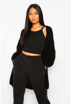Black Petite Heavy Weight Chunky Knit Cardigan