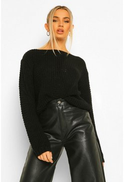 Black Petite Knitted Detail Jumper