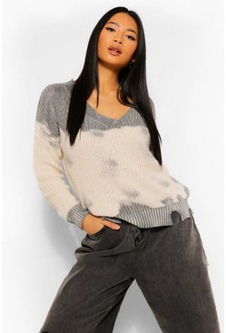 Ivory Petite Tie Dye Distressed Jumper