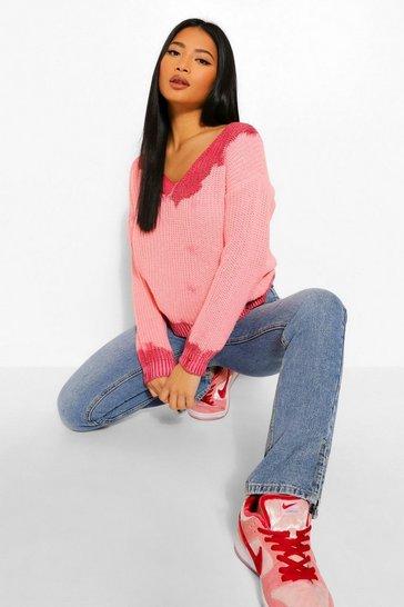 Pink Petite Tie Dye Distressed Jumper