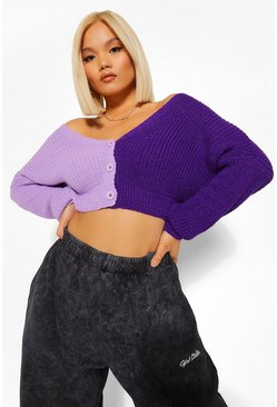 Lilac Petite Colour Block Cardigan