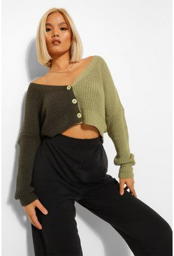 Sage green Petite Colour Block Cardigan
