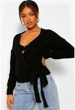 Black Petite Chunky Knit Wrap Cardigan
