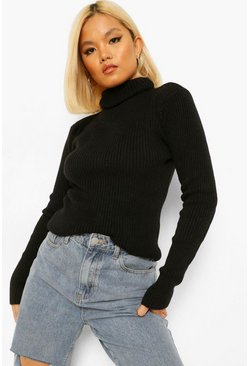 Black Petite Knitted Rib Roll Neck Top