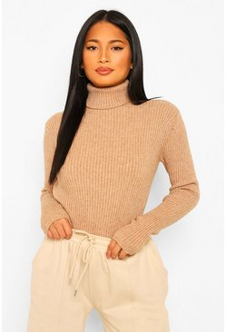 Camel beige Black Petite Knitted Rib Roll Neck Top