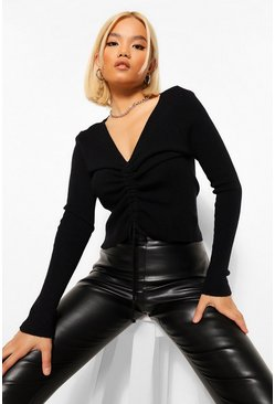 Black Petite Soft Knit Ruched Jumper