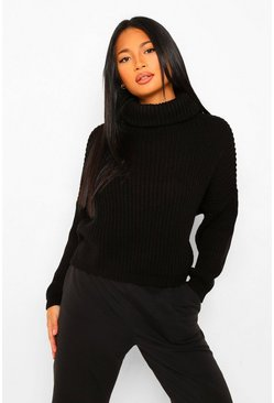 Black Petite Chunky Knit Roll Neck Cropped Jumper