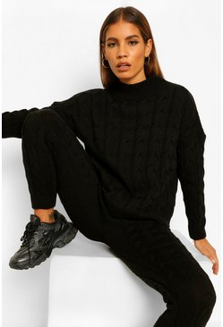 Black Petite Cable Knit Jogger and Jumper Co-Ord