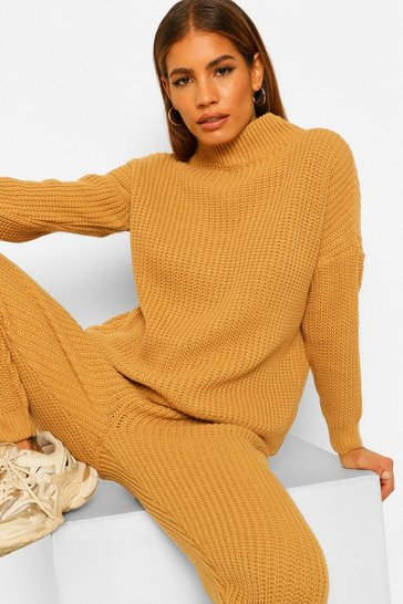 Camel beige Petite Chunky Knit Jumper and Jogger Co-Ord