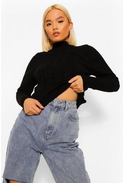 Black Petite Cable Knit Volume Sleeve Jumper