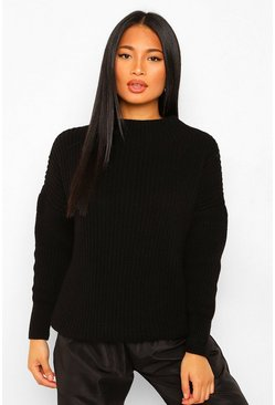 Black Petite High Neck Oversized Jumper