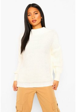 Ivory white Petite High Neck Oversized Sweater