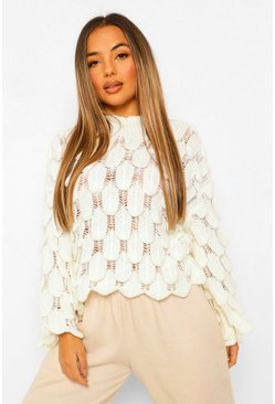 Ivory Petite Bubble Knit Flare Sleeve Jumper