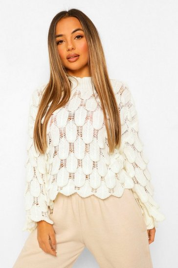 Ivory white Petite Bubble Knit Flare Sleeve Jumper