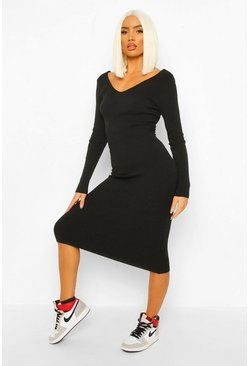 Black Petite Premium Rib V-Neck Knitted Dress