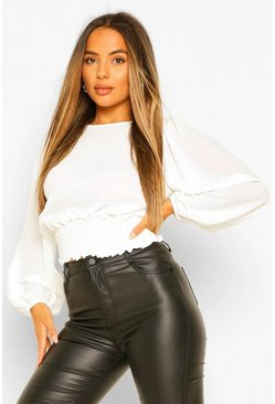 White Petite Pleated Shirred Blouse