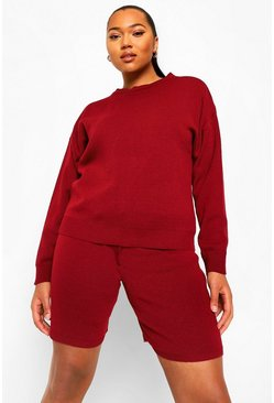 Berry red Plus Crew Neck Jumper And Shorts Set