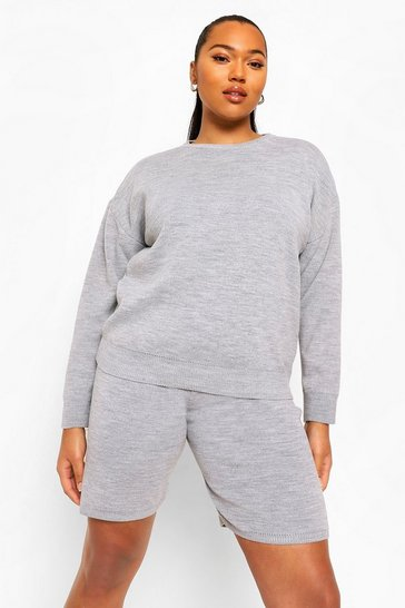 Grey Plus Crew Neck Jumper And Shorts Set