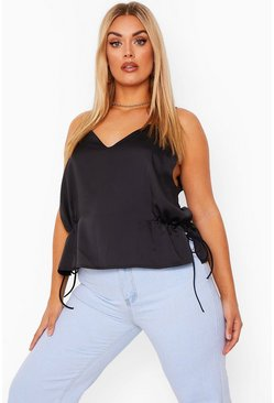 Black Plus Ruched Tie Side Satin Cami