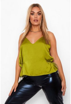 Chartreuse Plus Ruched Tie Side Satin Cami