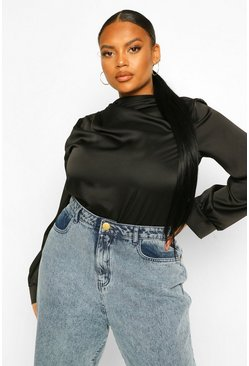 Black Plus Ruched Detail Satin Blouse