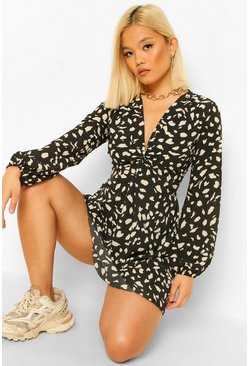Black Petite Animal Print Knot Front Shift Dress