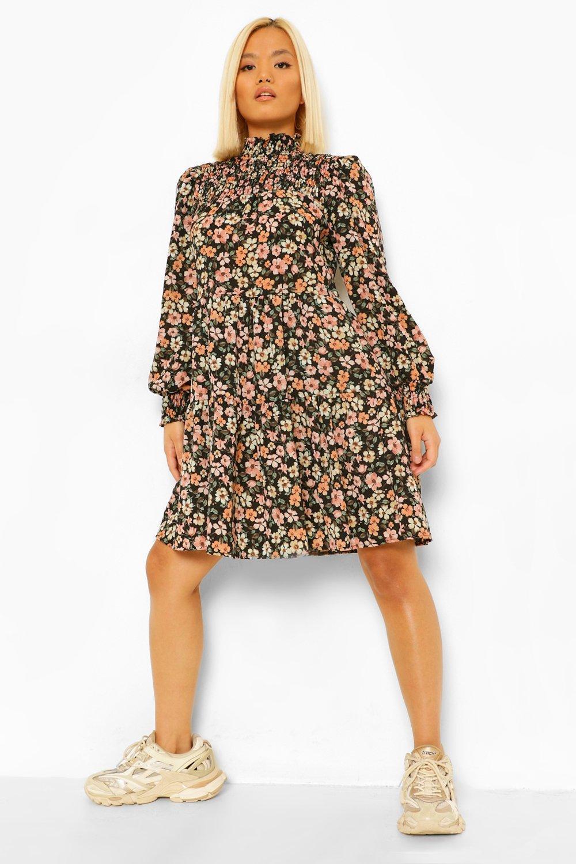 Long Sleeve Dresses Petite Shirred Floral High Neck Skater Dress