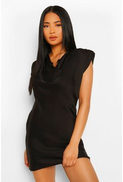 Black Petite Satin Cowl Neck Mini Dress