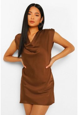 Chocolate brown Petite Satin Cowl Neck Mini Dress