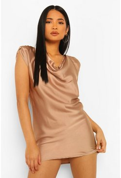 Stone beige Petite Satin Cowl Neck Mini Dress