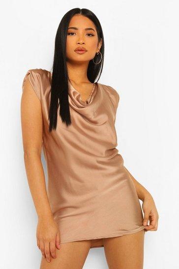 Stone beige Petite Satin Cowl Neck Mini Dress