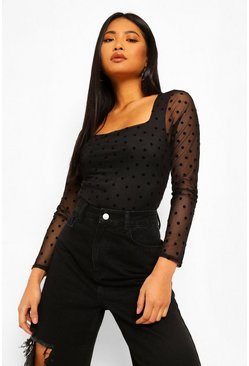 Black Petite Spot Mesh High Neck Puff Sleeve Bodysuit